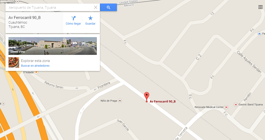 Ubicacion del Estacionamiento cercano a la garita de San Ysidro